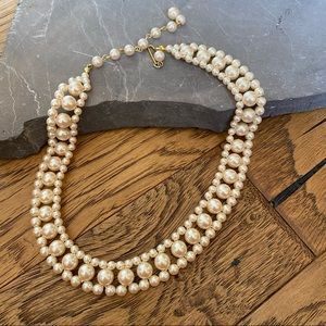 Vintage Double Pearl Collar Necklace 15-18""